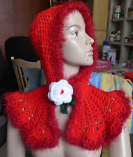 Handmade Crocheted Red Collar Soft Wool Wrap Scarf Capelet+ Hood Flower Button