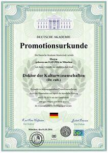 Doktortitel, DinA3, Promotionsurkunde, Zeugnis, personalisiert fälschungssicher