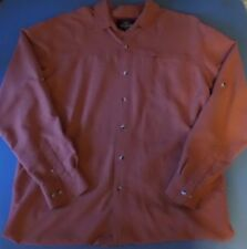 Nice Men's Red Head Orange/Red Plaid Long Sleeve Camp Trail Shirt - size Large