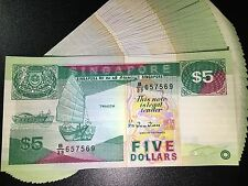 Singapore $5 boat series banknote 1989 Five Dollar UNC in excellent condition