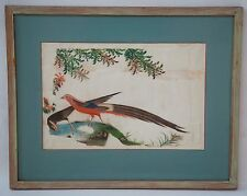 Antique 19th c Chinese Watercolour Painting on Silk BIRD w Blossom Flowers