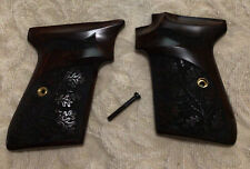 Wa 00006000 Lther Ppk/S Rosewood Checkered Grips W/ Walther Banner Smith & Wesson Version