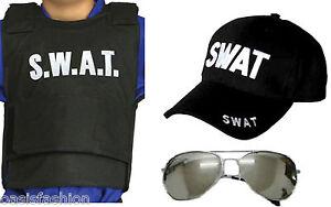 Boys Mens 3 PC SWAT Vest Glasses & Cap or T-Shirt Police Fancy Dress Costume