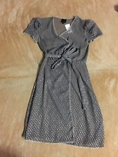 ANNA SUI Size 4 Grey Semi Sheer Cap Sleeve Wrap Dress