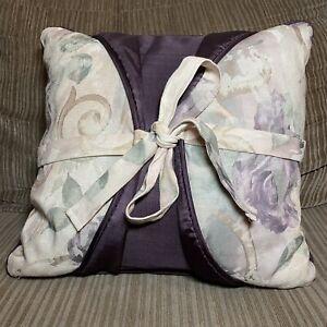 """Croscill Chambord Decorative Pillow 15-1/2"""" Square Tie Bow Purple Solid Floral"""