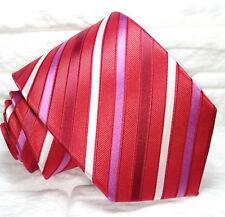 Regimental Jacquard rossa Cravatta Nuova seta Made in Italy handmade Morgana