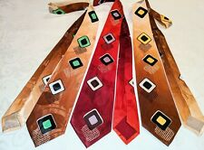Three Matching 1940s 1950s Nos Bold Graphics Post-War Atomic Tie Cravat Vtg