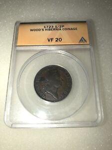 1723  Wood's Hibernia Coinage 1/2P Half Pence ANACS VF 20