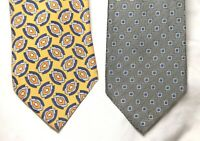 Lot of 2: LUCIANO BARBERA Silk Ties_Made In Italy_1 Gray & 1 Yellow w/Blue Tie