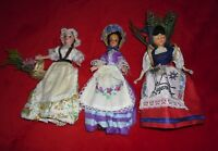 VINTAGE COSTUME DOLLS -x 3 STRAW BASKETS & BONNET CHARMING old souvenirs