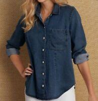 Soft Surroundings Top XL Tunic Shirt Jacket Navy Blue Denim Tencel NEW Relaxed