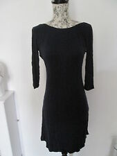 TOPSHOP - NAVY BLUE 3/4 SLEEVE PLUNGING BACK MINI DRESS SIZE 10 COTTON/LYCRA