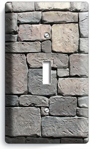OLD MEDIEVAL CASTLE ROCK STONE WALL LIGHT SWITCH 1 GANG PLATE ROOM HOME HD DECOR