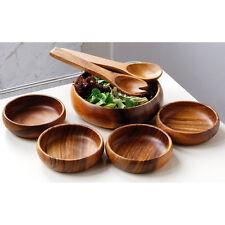 Conjunto de Ensalada de socorro 7pc Acacia de madera ensalada bol/4 tazones de fuente/servidores