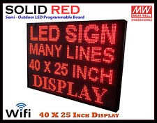40x25 Inch Red Wifi Semi Outdoor Indoor Led Scrolling Sign Super Fast Ship