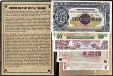 WWII Five Banknotes used as scrip by the British Military Occupying Germany