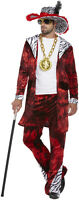 New Men's 70s Gangster Adult Big Daddy With Dollar Medallion Fancy Dress Costume