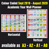 ACADEMIC YEAR COLOUR CODED WALL PLANNER A2, A1, A0  Sept 2019 - Aug 2020