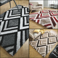 Modern Velvet Bijoux Soft Thick Shaggy Rug in Beige Black Red and 3 Sizes Carpet