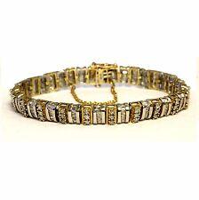 """10k yellow white gold 2.42ct I2H diamond tennis bracelet 20.6g estate vintage 7"""""""