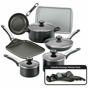 Farberware 17 Pieces Non Stick High Performance Black Cookware Set With Lids