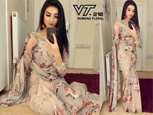 Floral Digital Print Saree Party Light Weight Fancy Border Georgette Ethnic Sari