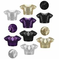 Girls Summer Casual Crop Top Sparkly Sequins Dancewear Daily Wear Party Costumes