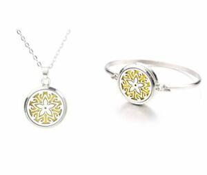 Aromatherapy Star Essential Oil Diffuser Locket Necklace Bracelet Set USA seller