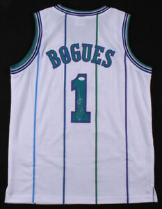 "Tyrone ""Muggsy"" Bogues Signed Charlotte Hornets Jersey (JSA COA) 1st Rd Pk 1987"