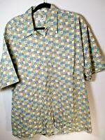 Men's Vintage Short Sleeve Collared Button Down Shirt Green/Blue Geo Print XL