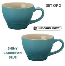 New listing New Le Creuset Stoneware Set of 2 Bistro Mugs Cup 14oz 400ml Caribbean Blue