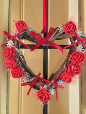 Christmas Wreath Wicker Heart Roses Snowflakes Shabby Chic Country Farmhouse Red