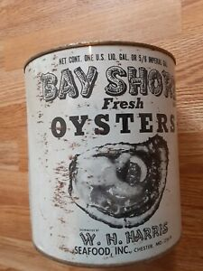 Vintage Bay Shores Oysters Tin Can Chester MD One Gal
