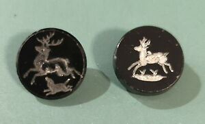 """2 Antique Black Glass Buttons Intaglio Stag w/Dog and Silver Luster Deer 5/8"""""""