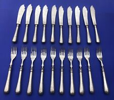 French Christofle Fidelio Decorated Fish Set 20 pieces