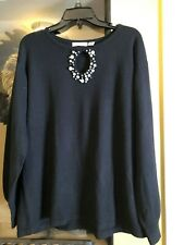 Mercer Street Studio Woman Sweater 1X Pullover Black Long Sleeve Beads