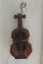 """Vintage Brown Glass Guitar Violin Wall Hanger Bottle Vase Jar 8"""" Tall Decor"""