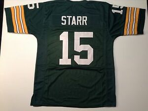 UNSIGNED CUSTOM Sewn Stitched Bart Starr Green Jersey - M, L, XL, 2XL, 3XL