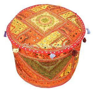 """Indian Round Pouf Cover Embroidered Patchwork Mirrored Ottoman Cotton Cotton 18"""""""