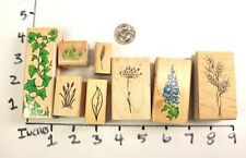 Wooden Rubber Stamp Lot Branches Leaves Leaf Ivy Flowers Tree Summer Spring