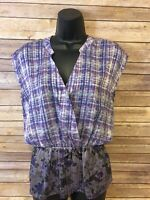 Womens CAbi Short Sleeve Faux Wrap Shirt Size Small Purple Blouse V-neck top