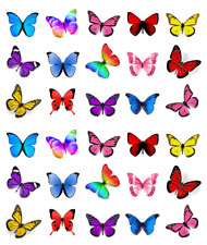 30 x Mixed Colours Butterflies Cupcake Toppers Edible Wafer Paper Fairy Cake