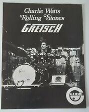 Publicité advert advertising BATTERIE GRETSCH 1976 CHARLIE WATTS ROLLING STONES