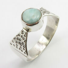 10 3.4 Grams Beautiful Fashion Jewellery 925 Sterling Silver Larimar Ring Size