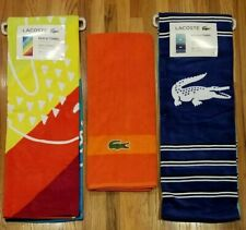 "LACOSTE ICONIC LOGO BEACH & BATH TOWEL 36x72"" MULTICOLOR LOT OF 3"