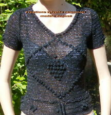 PULL  CROCHET FAIT MAIN EN FRANCE RETRO VINTAGE LUREX