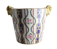 Sevres Porcelain Hand Painted Jardiniere Cache Pot, 19th Century. Gilt Ram Heads