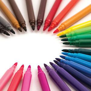 24 Pack Felt Fibre Tip Pens Drawing Markers Painting Colouring Art School UK