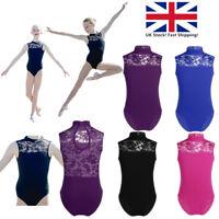 UK Girls Ballet Dance Leotard Kids Gymnastics Lace Turtleneck Dancewear Unitards