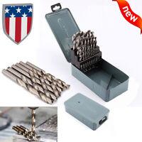 25 pcs Twist HSS High Speed Drill Kit Steel 1mm-13mm Metric Drill Bit Tool Set